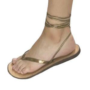 Aldo Self-Tie Lace-Up Wrap Sandals Bronze